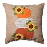 Pillow Perfect Harvest Pumpkins and Sunflowers Burlap Throw Pillow, 16.5''