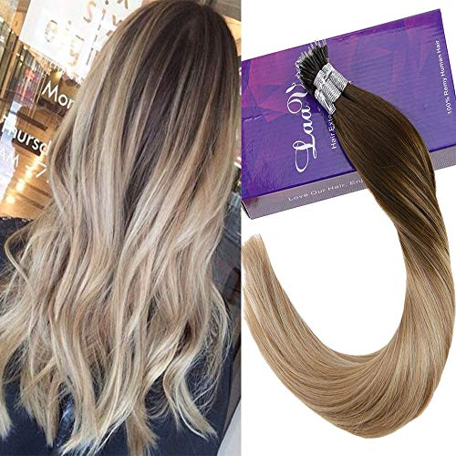 LaaVoo 18 Inch Long Remy Nano Loops Human Hair Extensions Balayage Dark Brown to Ash Blonde and Golden Blonde Stick Tips Human Hair For Fall 50g/50s