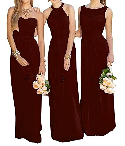 Meledy Women's A-Line Chiffion Prom Aridesmaid Dresses Lovely Aridal Long Wedding Party Dress Burgundy Style A Size 0