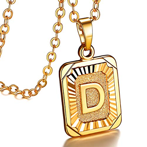 FOCALOOK Initial Letter Pendant Necklace Mens Womens Yellow 18K Gold Plated Square Script Capital Initial Jewelry Stainless Steel Ajustable Gold Link Chain 22 Inch Monogram Necklace Gift(Alphabet D)
