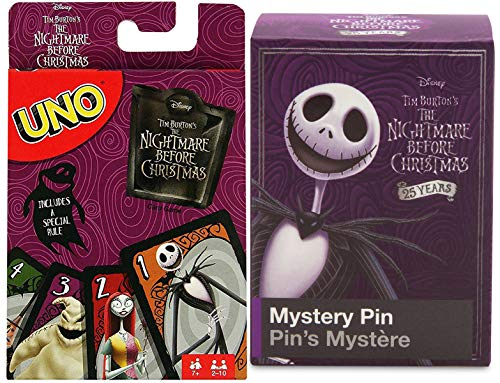 Pin it Jack's Rule Uno Matching Card Game Halloweentown Special Theme Edition & The Nightmare Before Christmas Blind Box Character pin Pack ()