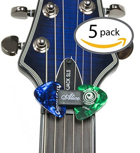 Guitar Pick Holder - Pack of 5 - For Acoustic Guitar Electric Guitar or Bass
