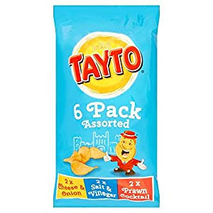 Tayto Irish Assorted Crisps - 6 Pack (6 X 25g Bags) - 2 Cheese & Onion, 2 Salt & Vinegar, 2 Prawn Cocktail