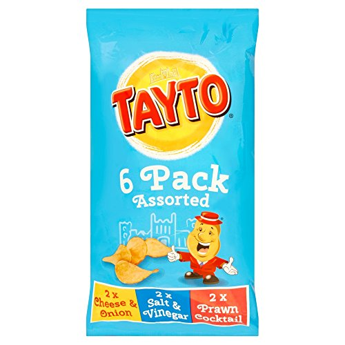 Tayto Irish Assorted Crisps - 6 Pack (6 X 25g Bags) - 2 Cheese & Onion, 2 Salt & Vinegar, 2 Prawn Cocktail