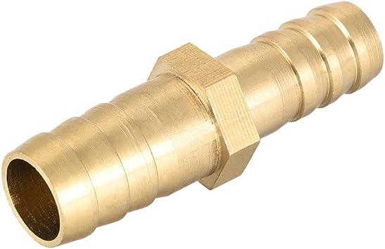Adaptador de manguera de lat/ón para conector recto 12mm x 6mm Barb 1pcs Sourcingmap