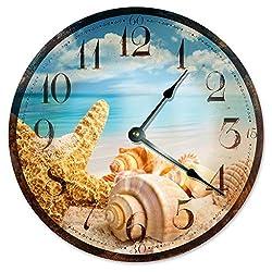 Sugar Vine Art RUSTIC SEA SHELLS Beach Clock Large 10.5 Wall Clock Decorative Round Ocean Clock Home Decor Novelty Clock BEACHY OCEAN CLOCK