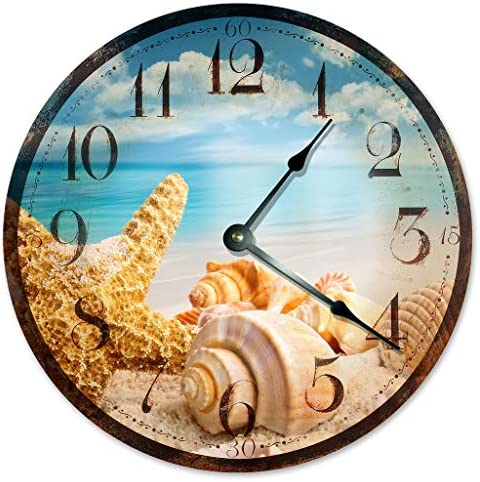 Sugar Vine Art Rustic SEA Shells Beach Clock Large 10.5 Wall Clock Decorative Round Ocean Clock Home Decor Novelty Clock Beachy Ocean Clock