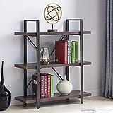 Homissue 3-Shelf Industrial Bookcase and Book Shelves, Vintage Wood and Metal Bookshelves,Espresso-Brown