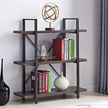 Homissue 3 Shelf Industrial Bookcase And Book Shelves, Vintage Wood And  Metal Bookshelves,Espresso Brown Images