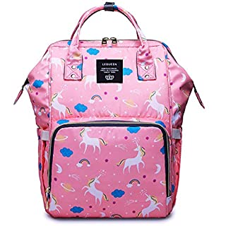 MiGer Diaper Bag Backpack for Mom Dad, Maternity Nappy Bags, Large Capacity Unicorn Baby Diaper Bag Bookbag for Boys Girls (Pink)