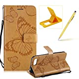 Strap Leather Case for Huawei Honor 10,Wallet Leather Case for Huawei Honor 10,Herzzer Premium Stylish Pretty 3D Yellow Butterfly Printed Bookstyle Magnetic Full Body Soft Rubber Flip Portable Carrying Stand Case with Card Holder Slots