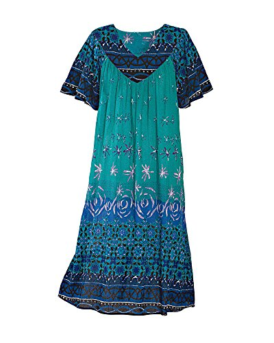 National Ocean Breeze Crinkle Dress, Turquoise, 2X