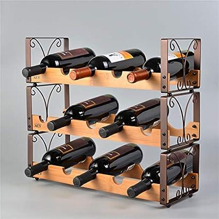 Alqn De madera de la vendimia de los estantes apilables del vino de la pared del estante para la mesa | Titular de la botella de vino | Titular de vino rústico para vinoteca vinoteca | Organizador de