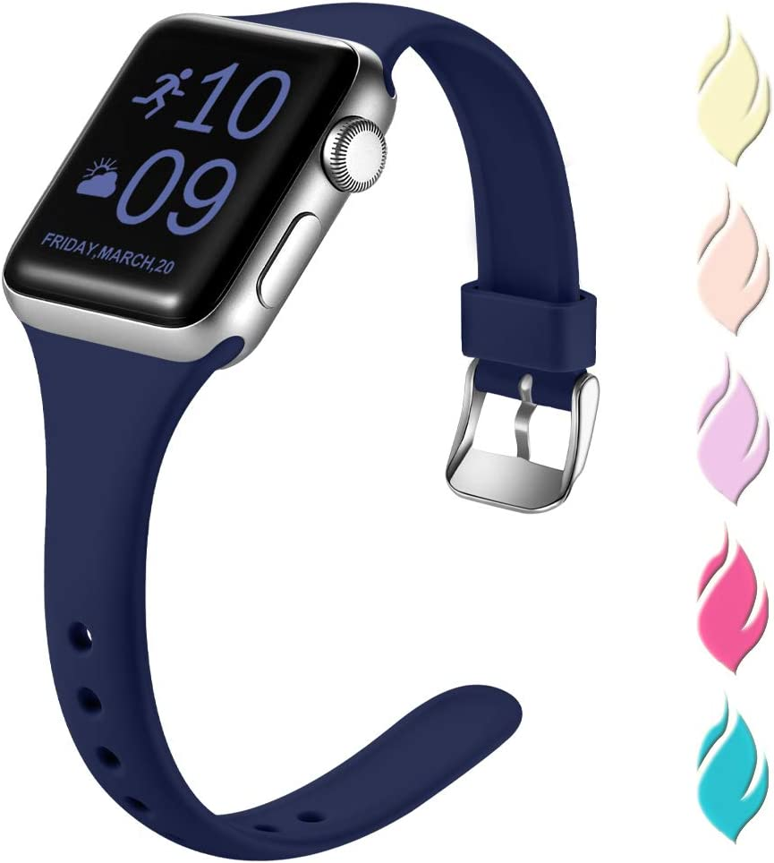 Henva Fashionable Band Compatible with iWatch 40mm 38mm, Waterproof Soft Band Compatible for Apple Watch SE Series 6/5/4/3/2/1, Navy Blue, S/M