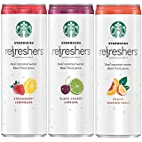 Starbucks Refreshers Sparkling Juice Blends, 3 Flavor Variety Pack with Coconut Water, 12 Ounce, 12 Cans