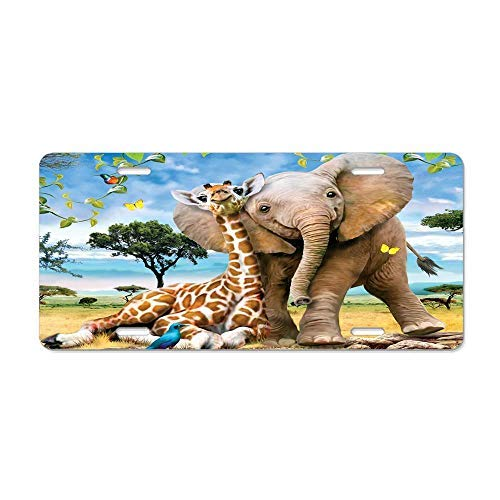 Baby Elephant & Giraffe Pals License Plate Frame,Decorative Front Licnese Plate,Front Vanity Plate,Funny Vanity Tag,Gifts for Women,for Men ()