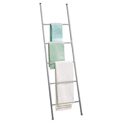 MetroDecor mDesign Toallero Escalera de Acero Inoxidable – Práctico Mueble toallero para Toallas de Mano,