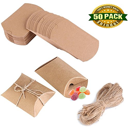 Kraft Boxes, Pillow Candy Box Gift Box Kraft Paper Gift Box with Jute Twine Vintage Style Wedding Party Favor Christmas present, 50 PCS