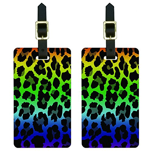 Leopard Spots Animal Print Rainbow Luggage Tags Suitcase Carry-On ID Set of 2
