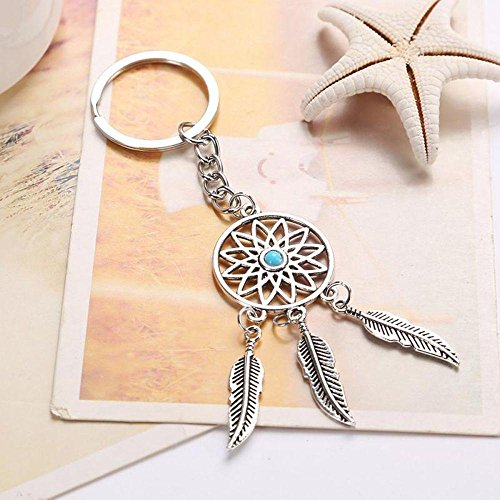 Hingghou Car Keychain Gift Keyholder Jewelry Bohemia Turquoise Beads Dream Catcher Keychain Feather Tree Leaf Tassels Keyring Dreamcatcher Pendant Key (Bead Dreamcatcher)