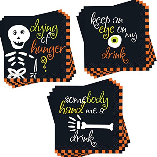 Halloween Themed Dinner Party Food (96-Pack Halloween Themed Cocktail Napkins - Disposable Paper Party Napkins in 3 Assorted Halloween Napkin Designs - Perfect Party Supplies for Halloween Party, Measures: 5