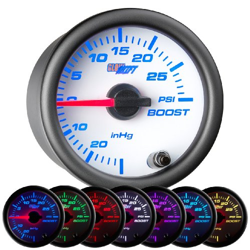 GlowShift White 7 Color 30 PSI Boost / Vacuum (Wrx Boost)