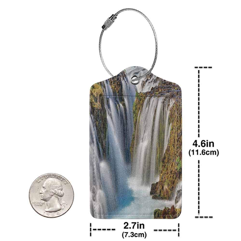 Modern luggage tag Scenery Decor Scandinavian Sublime Waterfall Down River by Stone Hill Cascade Stream Theme Suitable for children and adults White Brown W2.7 x L4.6