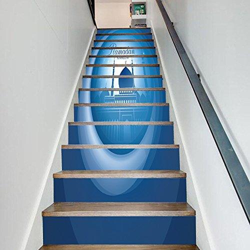 TUJHGF Stickers Escaliers 3D Papier Tridimensionnel Ramadan Bénédiction Décoration Escaliers Créatifs Stickers Muraux Papier Auto-adhésif étanche Et écologique