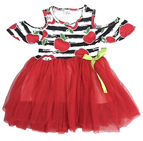 BluNight Collection Little Girl Dress Kids Off Shoulder Tulle Birthday Apple Flower Girl Dress Red 5 L (201401) (Tea Skirt Cotton Collection)