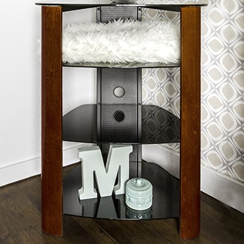 WE Furniture 35'' Glass Media Storage Tower, Cherry by WE Furniture