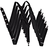 HDE 5 Pack Solid Color Straight Y-Back Clip Suspenders - 1 Inch Wide (Black, 42 inches)