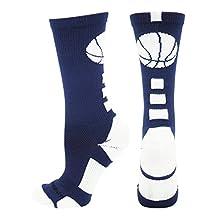 MadSportsStuff Basketball Logo Athletic Crew Socks (over 20 colors)