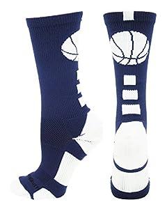 MadSportsStuff Basketball Logo Athletic Crew Socks, Large - Navy/White