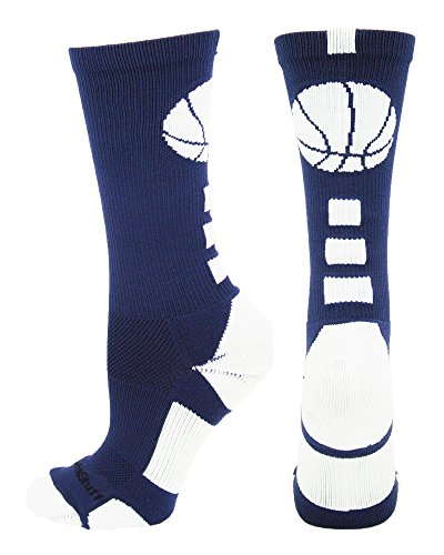 MadSportsStuff Basketball Logo Athletic Crew Socks, Large - Navy/White