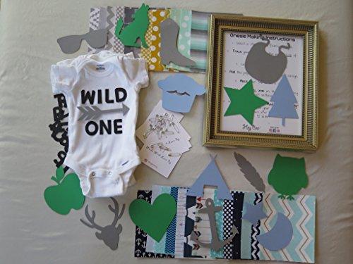 Hey Bee Creations Trendy BOY Theme-Baby Shower DIY Onesie Making Kit (25 Fabric Appliqués)]()