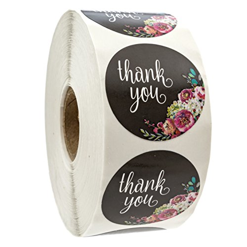 Floral Thank You Stickers   1 5  Circle Labels   1000 Per Pack