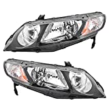 06-11 Honda Civic Sedan Pair of Headlights Headlamps w/Clear Park Lens 33151SNCA01 33101SNCA01