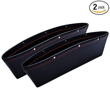 Black 2pcs Car Auto Seat Slit Pocket Catch Catcher Storage Organizer Box Caddy