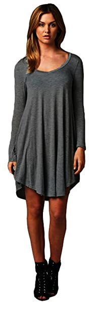 3e9e01d93e6 Womens Casual Feminine Long Sleeve Shirt Dress Small Charcoal. Roll over  image to zoom in. Reborn J