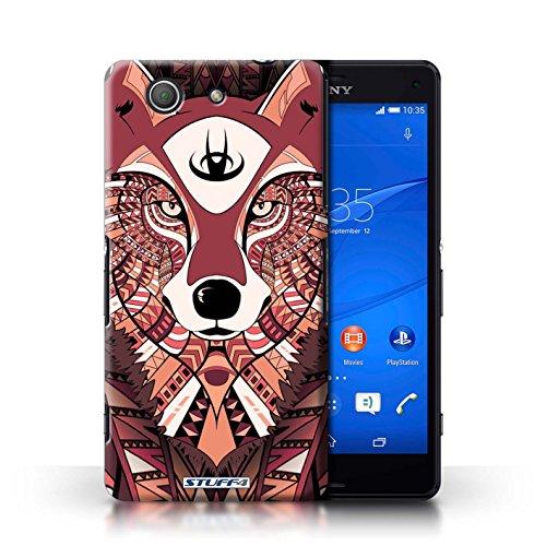 Kobalt® Imprimé Etui / Coque pour Sony Xperia Z3 Compact / Loup-Rouge conception / Série Motif Animaux Aztec
