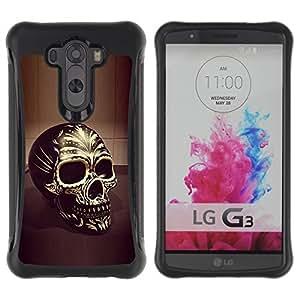 "Pulsar iFace Series Tpu silicona Carcasa Funda Case para LG G3 / D855 / D850 / D851 , Cráneo Negro Oro Bling Muerte 3D del motorista"""