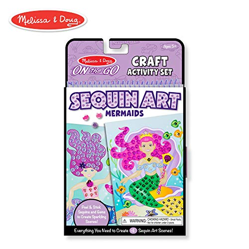 - Melissa & Doug On the Go Sequin Art Craft Activity Set: 500+ Sequins and Gems and 4 Scenes - Mermaids