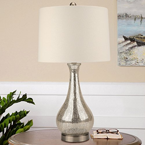 Warmstore Silver Mercury Glass Table Lamp,Crackled Glass Gourd Table Lamp with Linen Fabric Shade,Brushed Nickel Metal Pedestal, E26 Bulb Base Harp ()