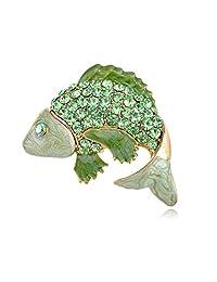 Crystal Rhinestone Enamel Golden Carp Koi Fish Fashion Pin Brooch