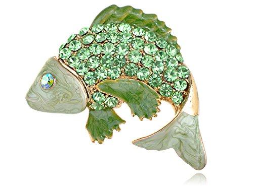 Alilang Golden Tone Green Rhinestones Pearlescent Carp Salmon Koi Fish Brooch Pin
