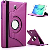 TGK® 360 Degree Rotating Leather Smart Rotary Swivel Stand Case Cover for Samsung Galaxy Tab A (8.0 inch) SM-T350, T351, T355 (2015 Model) (Purple)