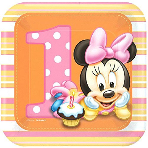 Amscan 8 Count Minnie's 1st Birthday Square Dessert Plates,