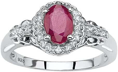 Oval-Cut Genuine Red Ruby and White Topaz .925 Sterling Silver Halo Cocktail Ring