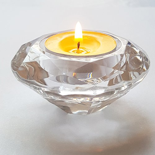 ElE&GANT 6Pcs Acrylic Diamond Tealight Candles Holders or Tealight Candles Stands (Clear)