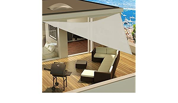 TOP SHOP Vela ciego de parasol afuera con cuerdas de anclaje 5 x 5 x 5 m BLANCO vela de la cortina - bloquear el sol todo el día: Amazon.es: Jardín
